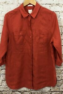 Chicos-button-front-shirt-blouse-womens-2-large-nO-iron-linen-roll-tab-sleeve-O7