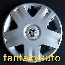 Renault Clio kangoo Twingo Set 4 Borchie Coppe Copponi Copri Cerchi 14 Logo Crom