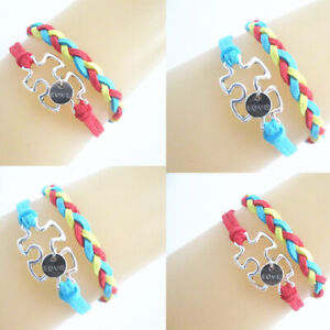 Details About Pretty Autism Awareness With Love Charms Suede Cords Wrap Friendship Bracelet