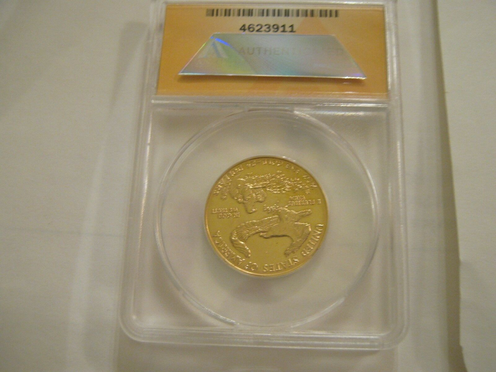1986 , American Gold Eagle , $25 , Half Ounce , Cleaned