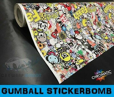 "STICKERBOMB Car Wrap 152 x 50cm (60 x 20"") - Bubble Free Vinyl Sticker Bomb"