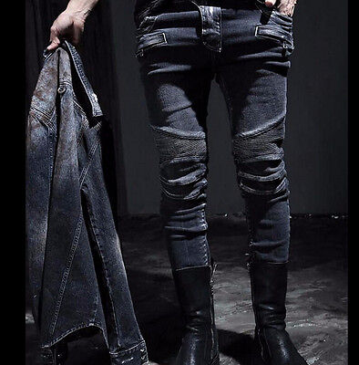 Gothic Mens Punk Rock Retro Denim Pants Slim Fit Jeans Trousers Skinny Black