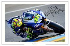 VALENTINO ROSSI YAMAHA SIGNED PHOTO PRINT AUTOGRAPH MOTO GP