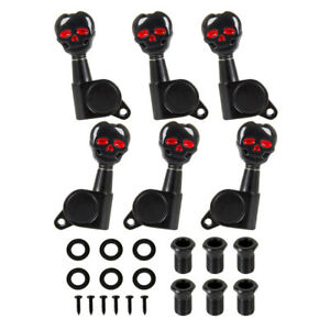 Electric-Acoustic-Guitar-Tuning-Pegs-Machine-Heads-3x3-Black-Skull-Sealed-Gear
