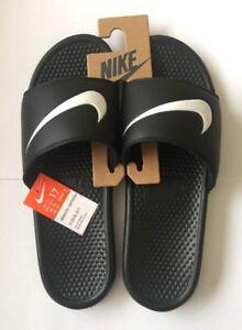Mens Black Sandals Flops Flip Benassi White Slide Swoosh Uk16 Nike A3Lj54R