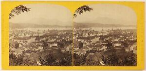 Lucerna Suisse Foto PL27L1n Stereo W.Inghilterra Vintage Albumina c1865