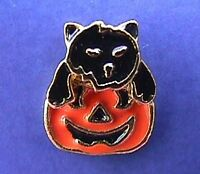 BUY1&GET1@50%~PIN Halloween CAT Black PUMPKIN JOL Enamel Vtg Tie Tac Brooch