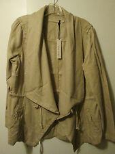 """$110 Max Jeans """"Safari"""" Tan Beige Lt Brown Tencel Drape Long Jacket XL NWT"""