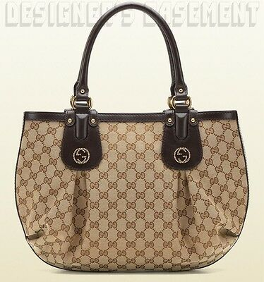 GUCCI beige ORIGINAL GG canvas SCARLETT brown Leather STUDDED G bag NWT Authentc