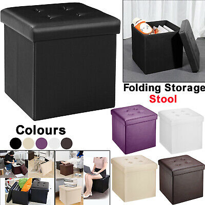 Folding Storage Ottoman Seat Stool Footstool Toy Living Room Bedroom Storage Box   EBay