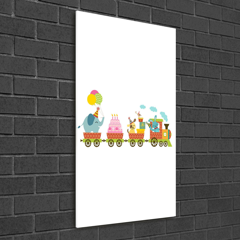 Wand-Bild Kunstdruck aus Acryl-Glas Hochformat 50x100 Fröhlicher Zug