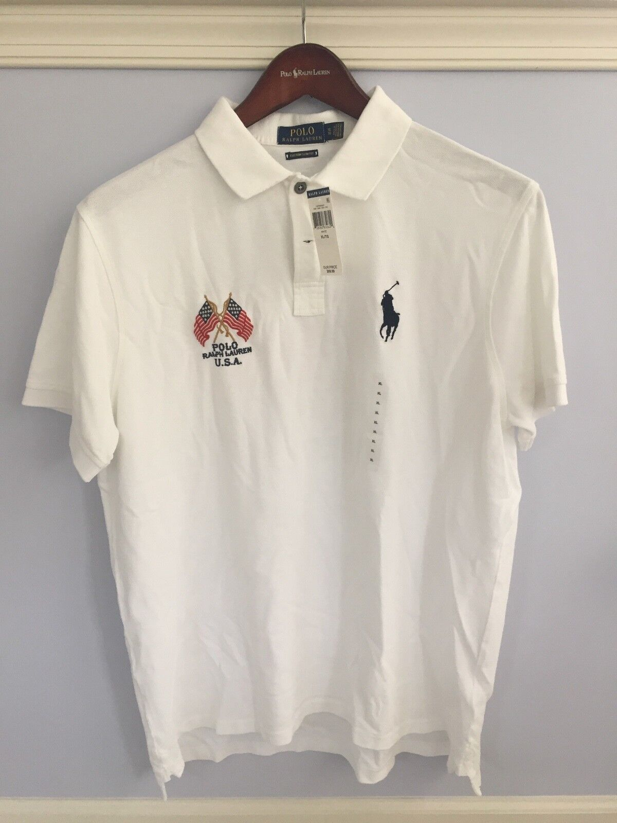 eddb8f1e3c1 Polo Ralph Lauren S S 100% Cotton USA NEW YORK Mesh Polo Shirt White XL NWT