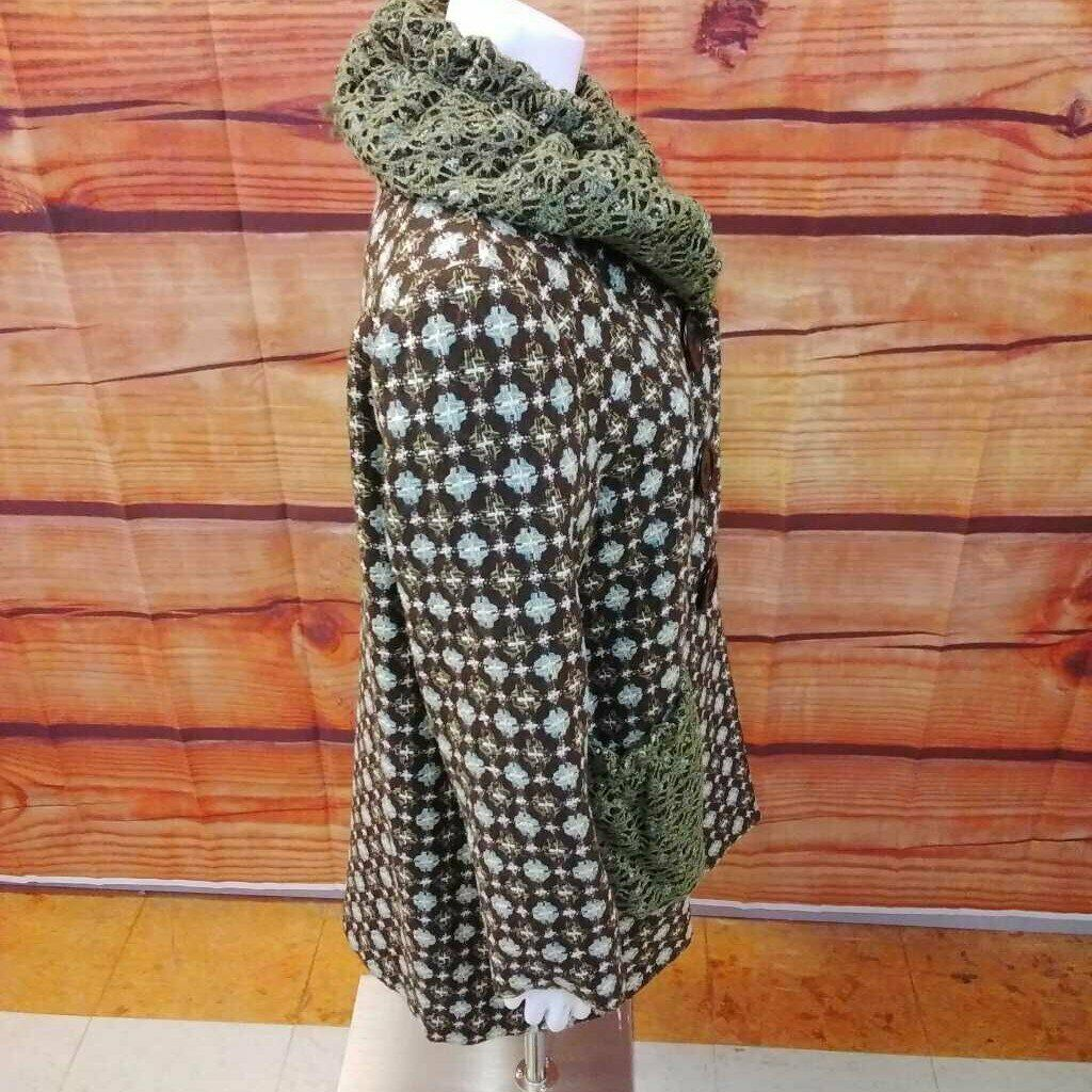 AN REN NEW YORK BROWN MULTI COLOR COAT SIZE LARGE - image 2