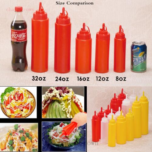8//12//16//24//32ozPlastique Transparent Squeeze Sauce Ketchup Moutarde bouteilles