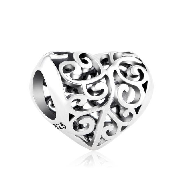 Love Heart Openwork Sterling Silver 925 Charm Bead fits European Bracelet Bangle