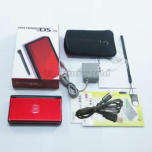 Brand-New-Crimson-Red-amp-Black-Nintendo-DS-Lite-HandHeld-Console-System-gifts