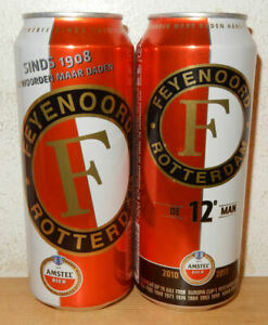 2 Amstel Beer FEYENOORD ROTTERDAM Soccer cans from HOLLAND (50cl)  Empty !!