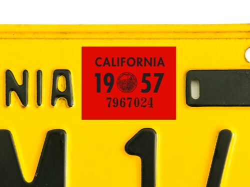 DMV CA 1957 California License Plate Registration Sticker Tag YOM
