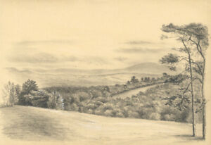 Adeline Frances Mary Dart, Dartmoor View – 1867 graphite drawing