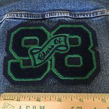 Chenille Patch Class Of 1998 Green Vintage Varsity Letter Jacket Sew On Felt