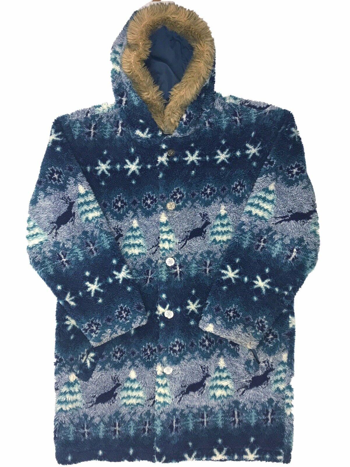 Vtg. LL Bean Mens Medium Sherpa Parka Faux Fur Hood Metal Buttons Deer Print