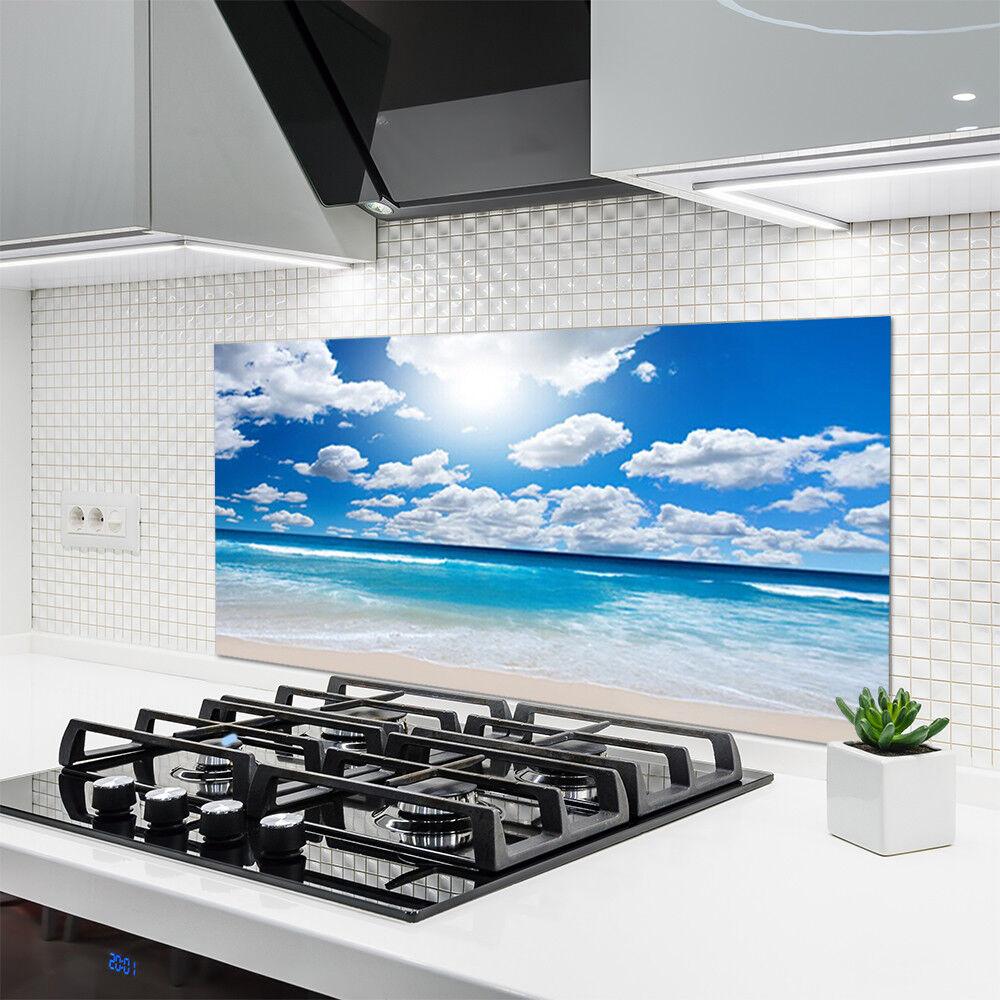 Crédence de cuisine cuisine cuisine en verre Panneau 120x60 Paysage Mer Du Nord Plage Nuages 8ba72f