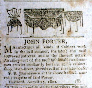 Image Is Loading 1801 Newspaper W An ILLUSTRATED FURNITURE AD Featuring