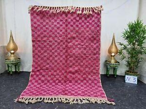 "Beni Ourain Moroccan Handmade Rug 5'2""x7'5"" Checkered Berber Pink Wool Carpet"
