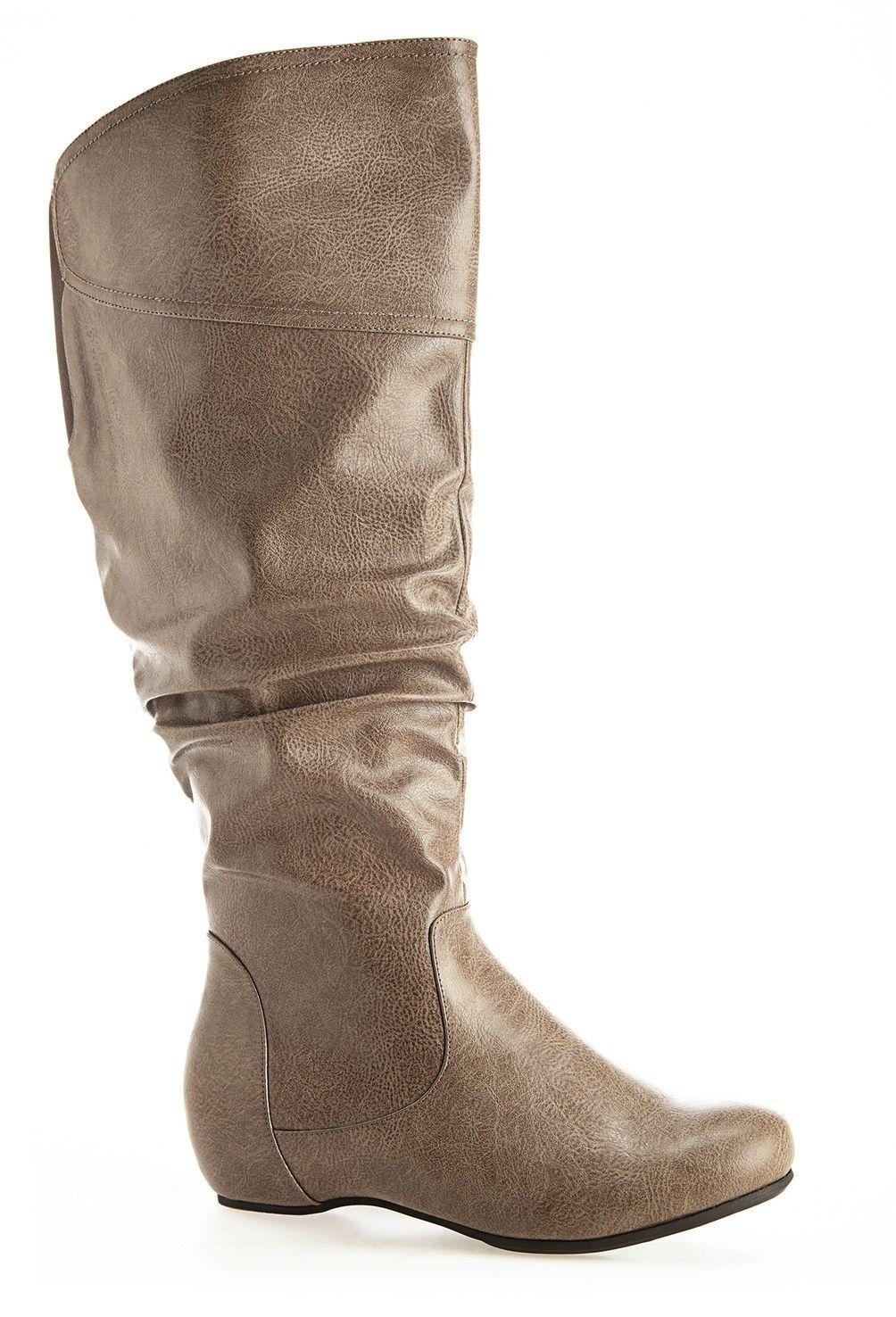 Almere Taupe Tall Ruched Stiefel - Größe 8W