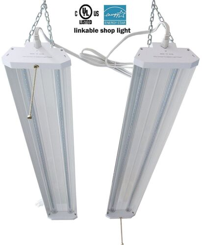 2PCS 4Ft 40W 5000k LED Garage Work Shop light Fixture Hanging with Pull Chain MX