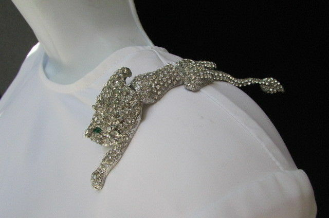 "New Women Silver Side Shoulder Big Pin Broach Metal Tiger Body 5"" Trendy Jewelry"