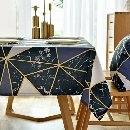 Waterproof Tablecloth Rectangle Square Geometric Printed Table Cloth Cover Decor