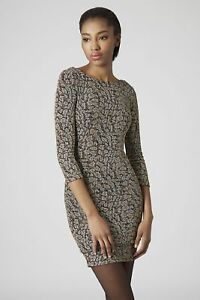 Image is loading Topshop-Glitter-Animal-Bodycon-Party-Dress-SIZE-UK10- efbc76fcb
