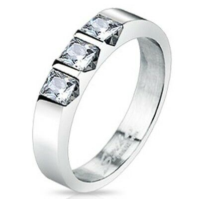 New Womens Stainless Steel Triple Square Cut CZ Set Band Ring Size 5,6,7,8(2077)