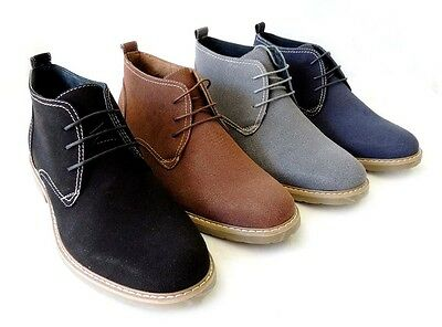 NEW MENS ANKLE BOOTS FAUX SUEDE LEATHER LINED CHUKKA LACE UP SHOES / Black