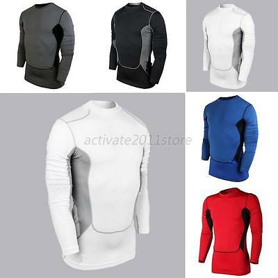 Men Compression Base Layer Top Tight Long Sleeve T-Shirt Athletic Collection A18
