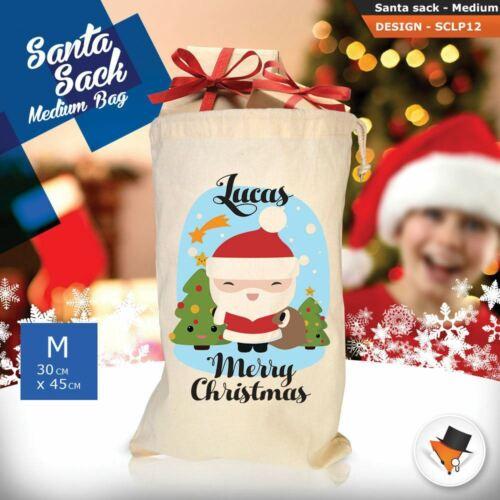 Personalised Childrens Santa Sack Christmas Bag Cartoon Cute Penguin Pink 2018