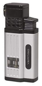"Vertigo /""Chancellor/"" Metallic Silver Quad Torch Butane Lighter Cigar Punch"