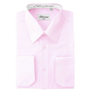 Berlioni-Italy-Men-039-s-Convertible-Cuff-Solid-Italian-French-Dress-Shirt-Pink