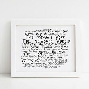 Framed Original Art Singles Album Print Lyrics Gift Kate Bush Mixtape Poster