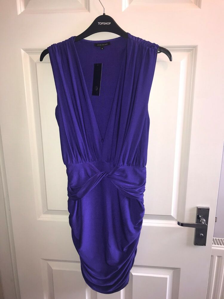 * Bnwt * River Island Purple Plunge Moulante Crayon Robe Moulante Stretch Uk 8