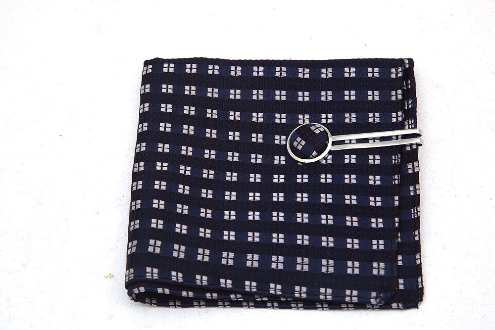 Mens Blue Silk Square with Matching Tie Pin Bar New Unwanted Gift