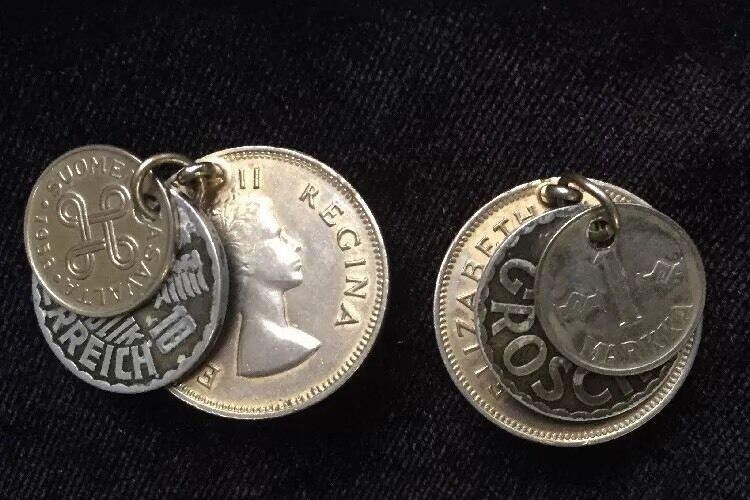 Vintage Foreign Coin Earrings - South Africa - Austria - Finland