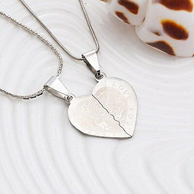 GirlZ! Silver Plated Twin Heart Couple Pendant Necklace with chains (2 pieces )