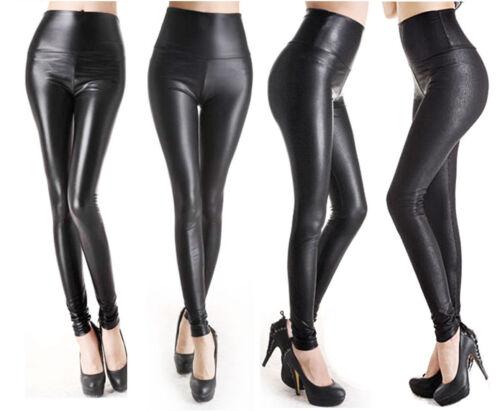 WOMENS FAUX LEATHER LEGGINGS Black High Waist Pants Legging 4 styles XS S M L