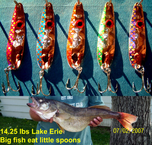"5 Thin HEX .016 2 14"" Copper Flash Trolling Flutter Spoons Walleye Candy"