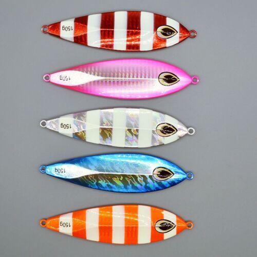 5pcs Vertical Jig Slow Jig Fishing Lures Shore Jigs Bait Light Spoon Tackle 150g