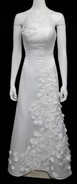 Vintage 3d Floral Chiffon Wedding Dress Short White Ivory