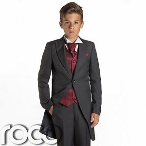 Boys Grey & Burgundy Tail Suit , Wedding Suits, Page Boy Suits