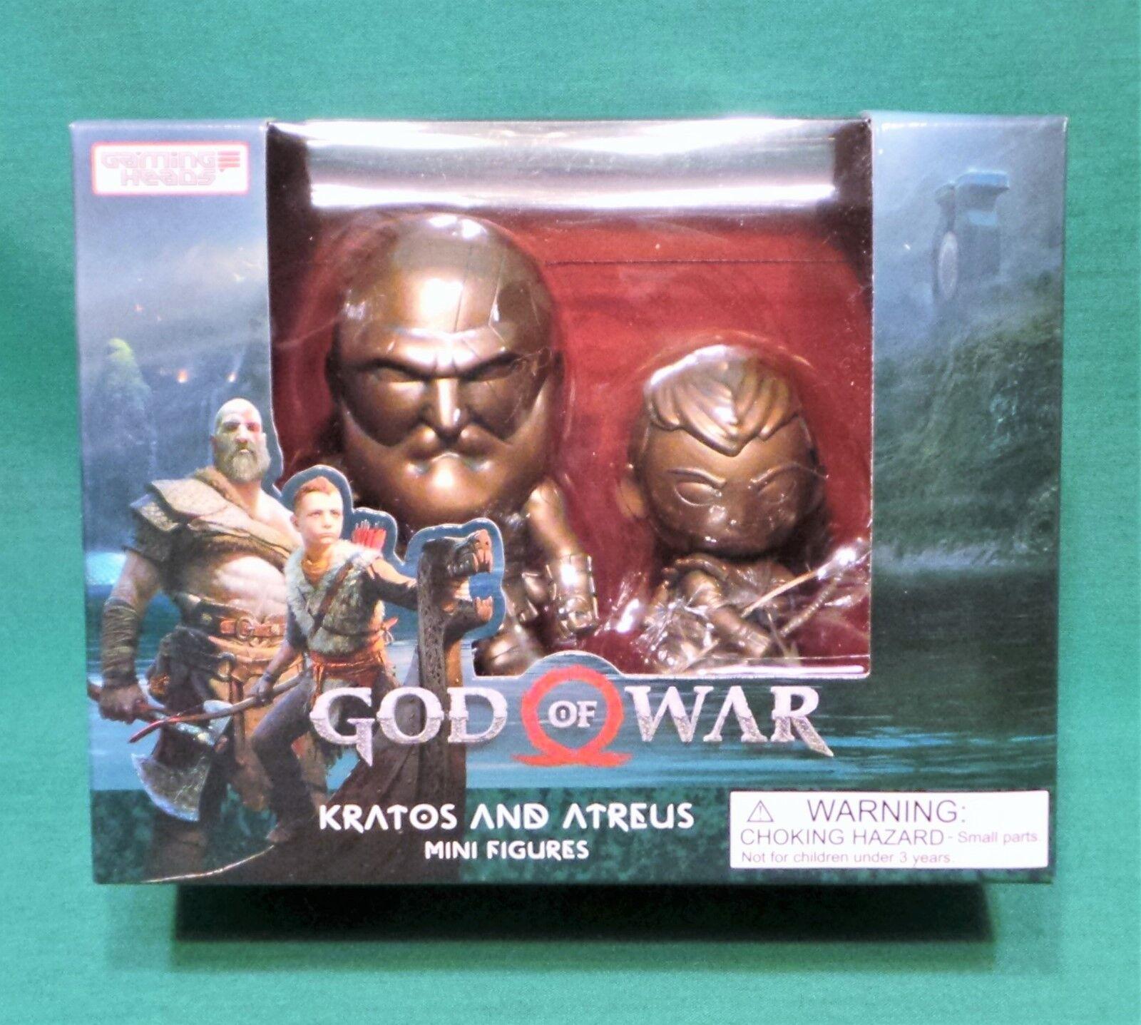 Dios de la guerra Kratos y Atreus Mini Figuras Conjunto de Imitación Bronce Variante 1000 hecho 3.5
